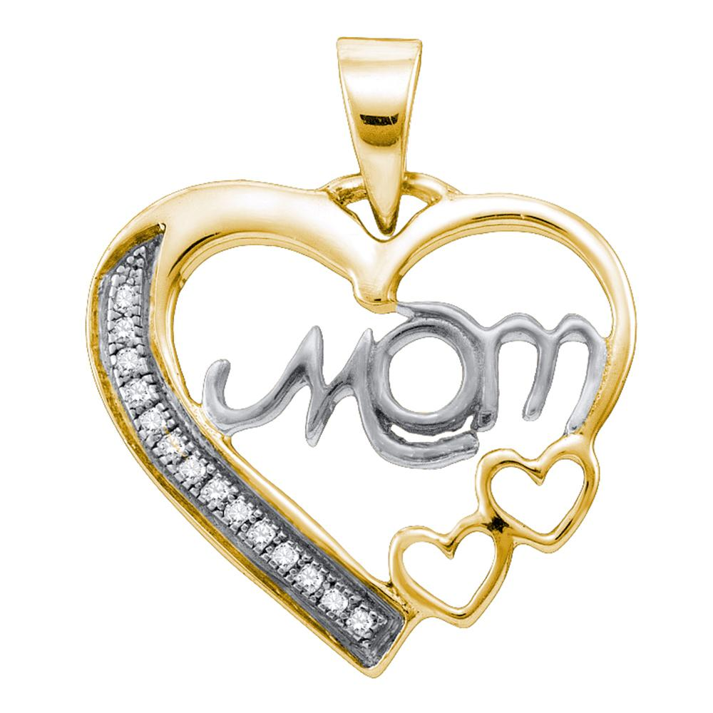 Sterling Silver Gold Plated MOM Heart with Diamond Pendant 1/20 Cttw