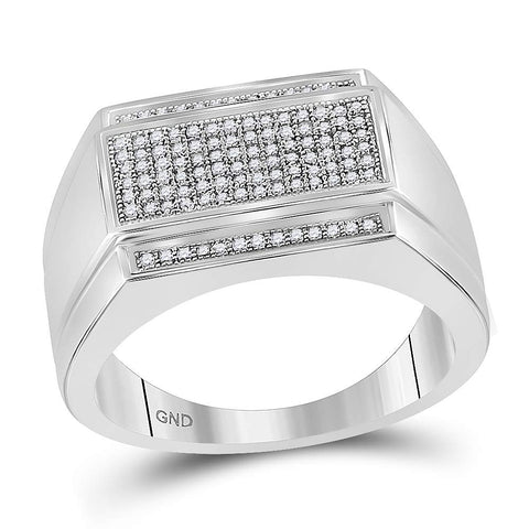 Sterling Silver Mens Round Diamond Rectangle Cluster Fashion Ring 1/3 Cttw