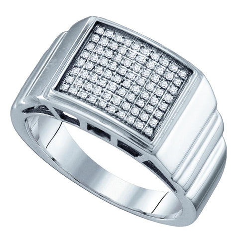 Sterling Silver Mens Round Diamond Square Cluster Textured Ring 1/4 Cttw