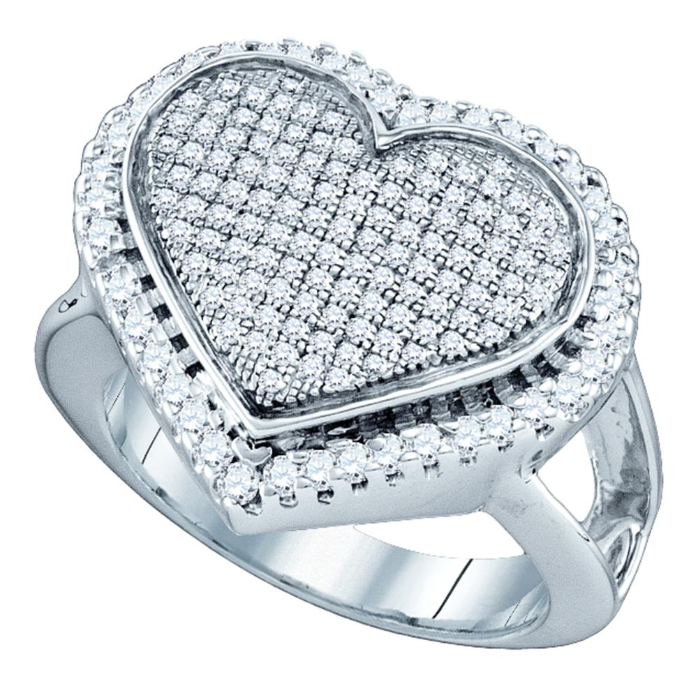 Sterling Silver Womens Round Diamond Heart Cluster Ring 3/4 Cttw