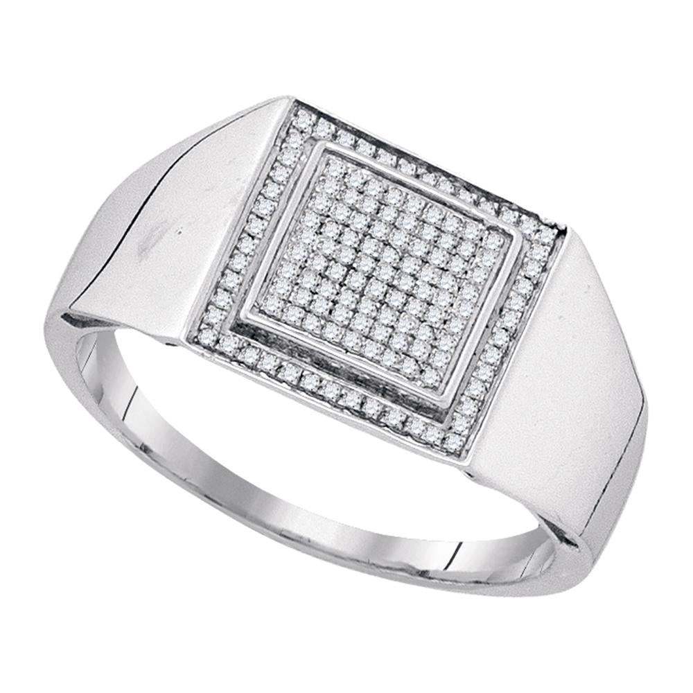 Sterling Silver Mens Round Diamond Square Frame Cluster Ring 1/4 Cttw