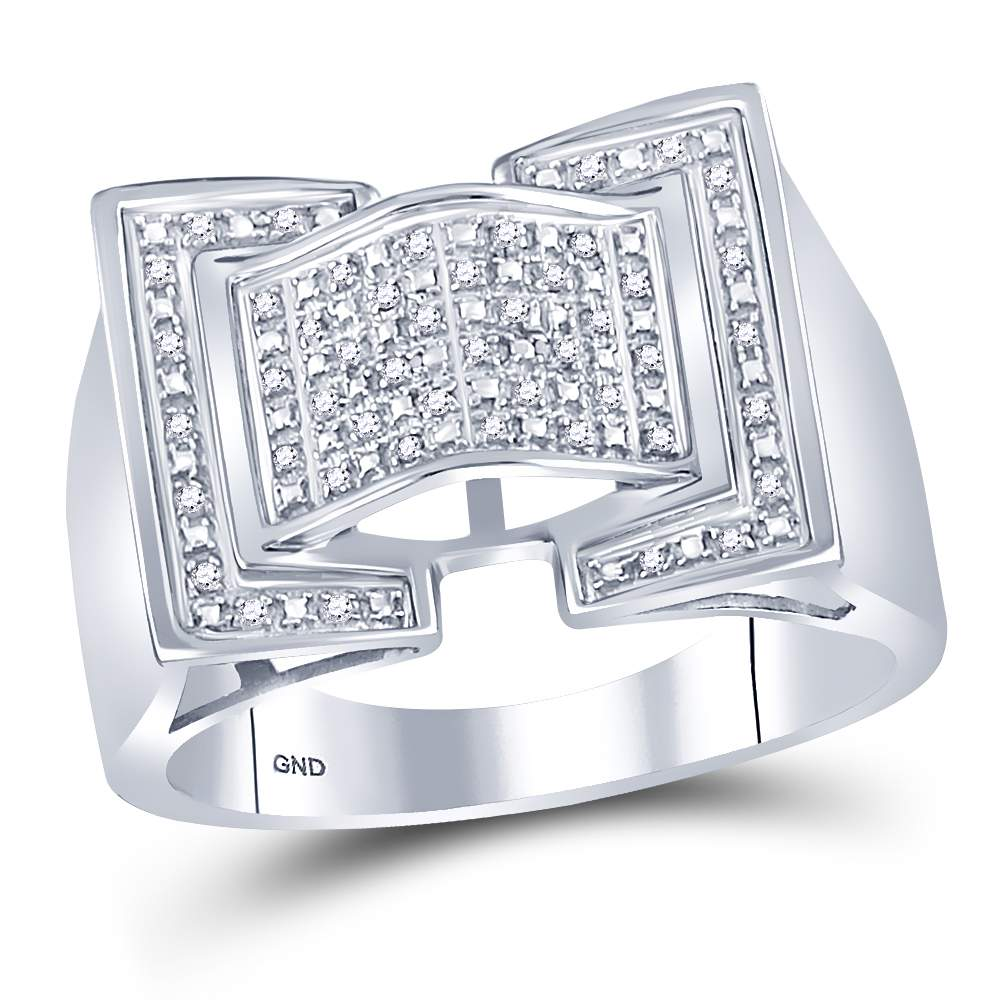Sterling Silver Mens Round Diamond Domed Rectangle Cluster Ring 1/8 Cttw