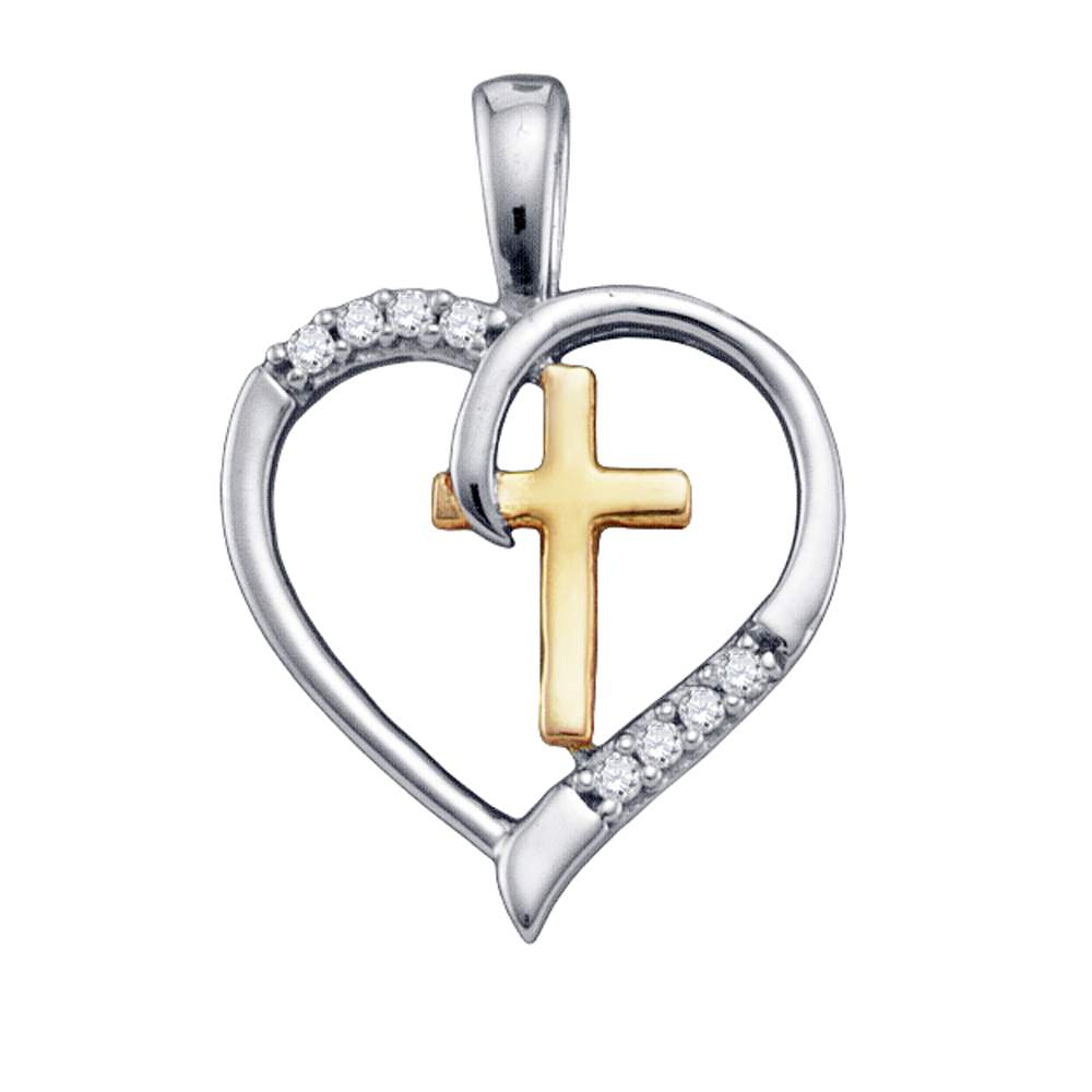 Cross & Heart Pendant, Sterling Silver with Gold Plating and Diamonds 1/20 Cttw