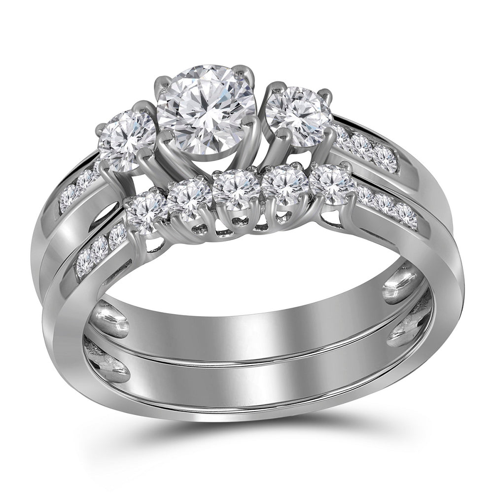 14k White Gold Womens Round 3-stone Diamond Wedding Bridal Ring Set 1.00 Cttw