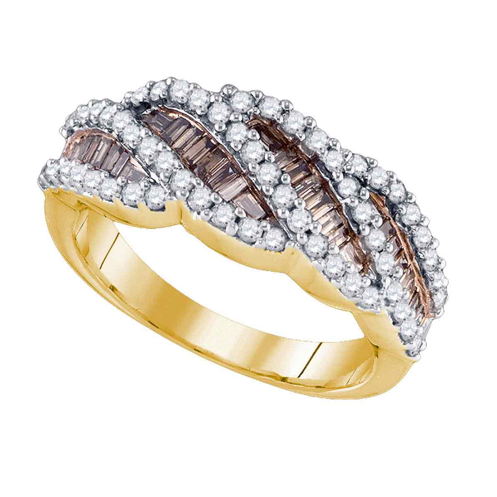 10kt Yellow Gold Womens Baguette Brown Color Enhanced Diamond Striped Band Ring 1.00 Cttw