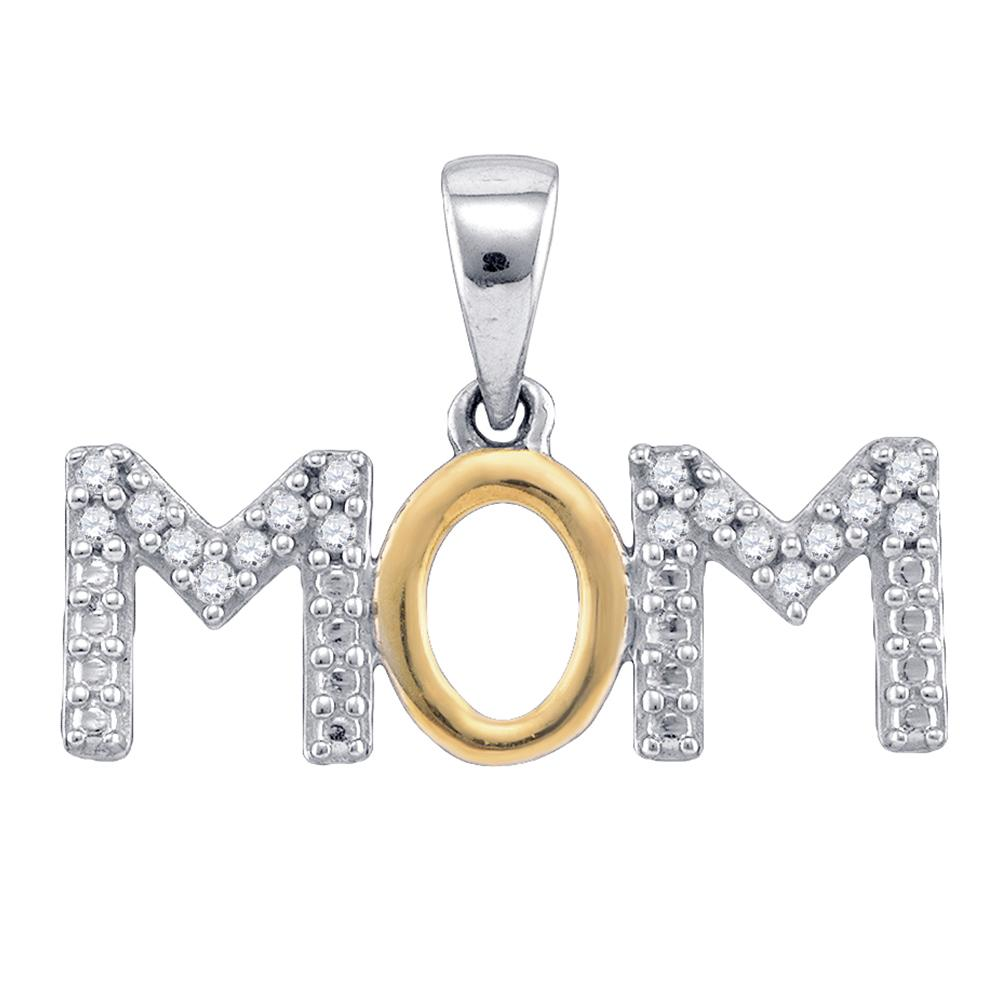 "Sterling Silver ""MOM"" Word Charm Pendant with Diamonds, 1/10 Cttw"