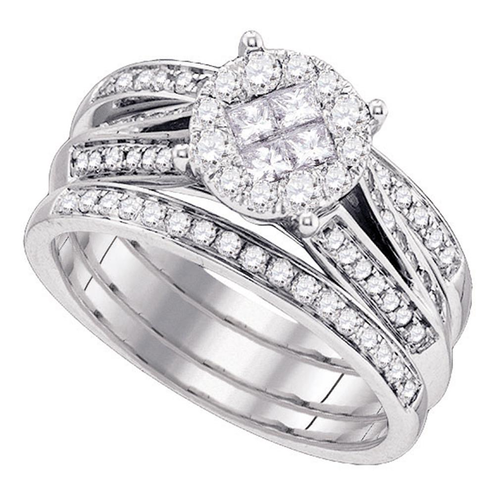 14kt White Gold Womens Princess Diamond Soleil 3-Piece Bridal Wedding Engagement Ring Band Set 1.00 Cttw