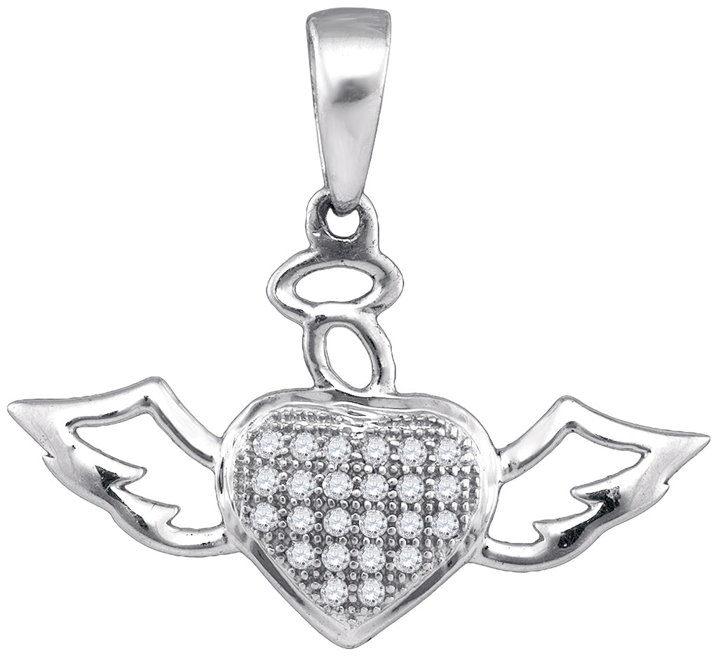 10kt White Gold Womens Round Diamond Heart Love Angel Pendant 1/10 Cttw