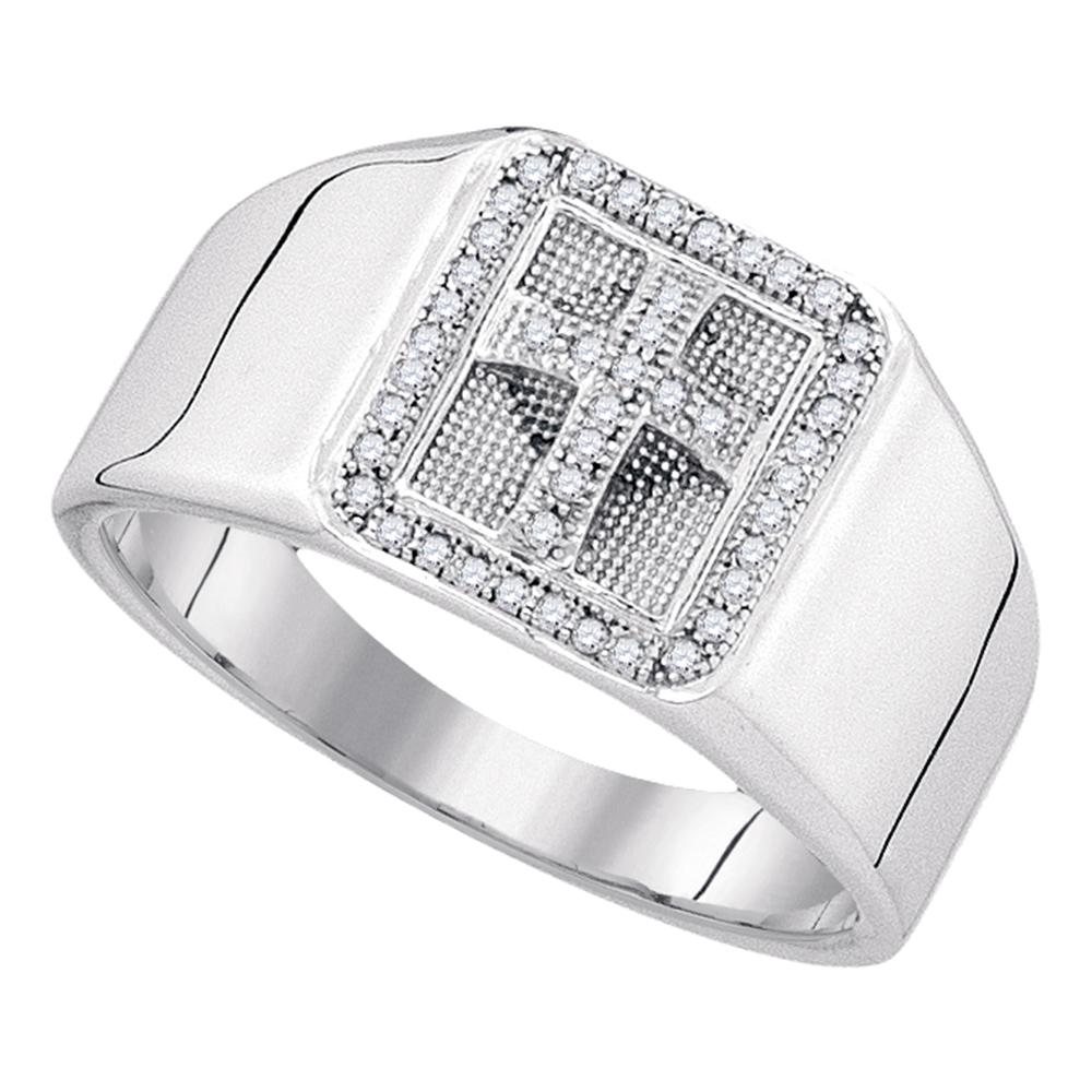 Sterling Silver Mens Round Diamond Square Frame Cross Religious Ring 1/6 Cttw