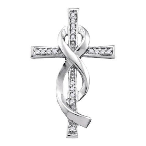Ribbon Cross Pendant in White Gold with Diamonds, Christian Theme 1/10 Cttw