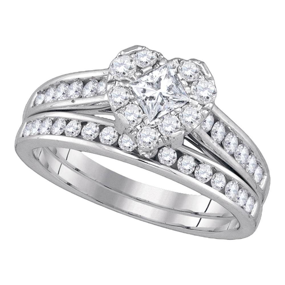 14kt White Gold Princess Diamond Heart Bridal Wedding Engagement Ring Band Set 1-1/4 Cttw