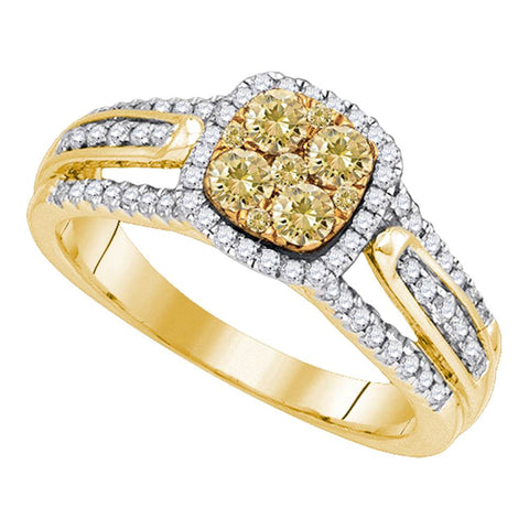 14kt Yellow Gold Womens Round Yellow Diamond Cluster Bridal Wedding Engagement Ring 3/4 Cttw