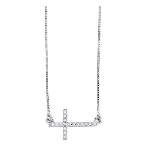 Small Sideways Cross Necklace for Women, 10K White Gold Pendant 1/10 Cttw