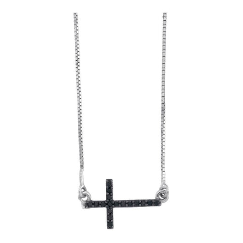 Women's Black Cross Necklace Sideways Style, 10K White Gold with Diamonds 1/10 Cttw