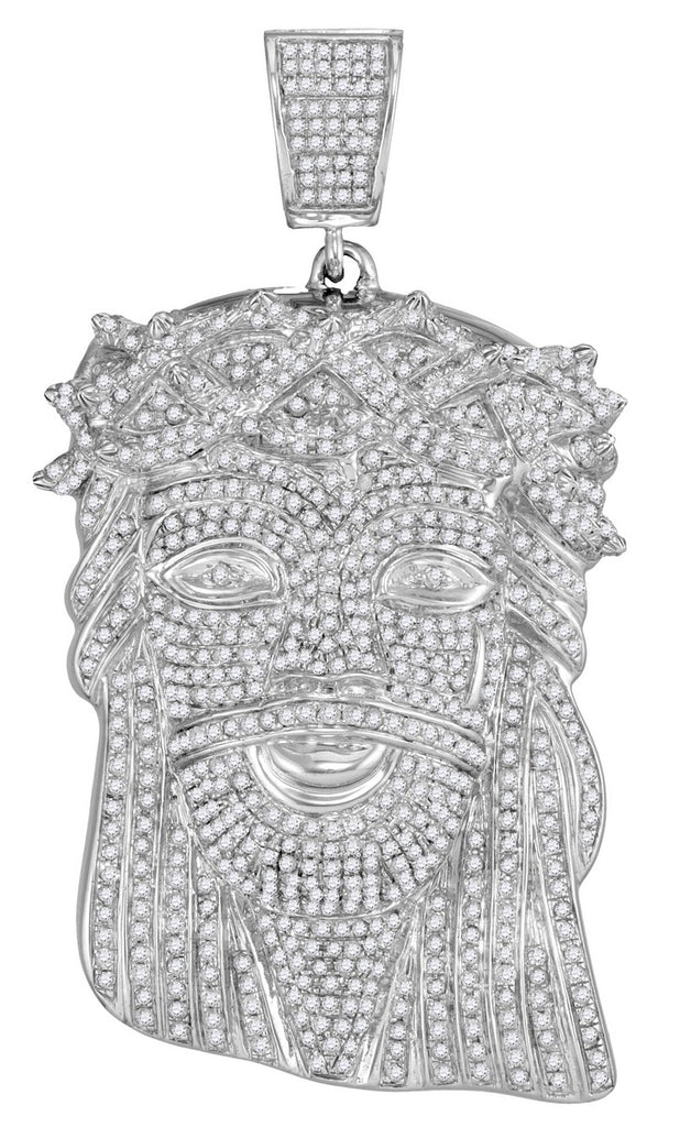 Iced Out Jesus Head Pendant, 10K White Gold with Real Diamonds 3-3/4 Cttw