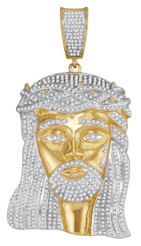 10K Jesus Christ Piece in Gold and Diamond for Men, 2-1/2 Cttw