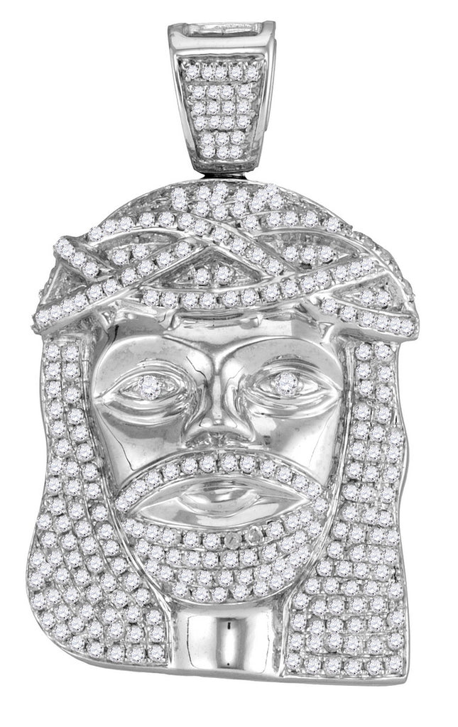 10K White Gold Jesus Piece Pendant with Diamonds 1-5/8 Cttw