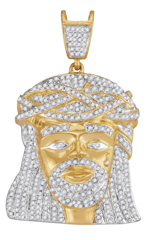 Gold and Diamond Jesus Piece Pendant for Men 1-1/4 Cttw