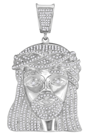 White Gold Jesus Pendant with Diamonds, Religious Theme, 10K 1-7/8 Cttw