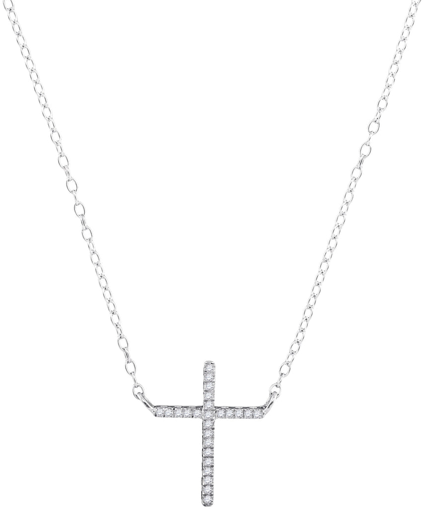 White Gold and Diamond Cross Necklace for Women, 10K Pendant 1/12 Cttw