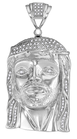 White Gold Jesus Face Pendant with Diamonds, Religious Theme, 10K 3/8 Cttw