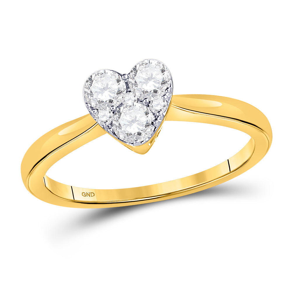 10kt Yellow Gold Womens Round Diamond Heart Cluster Ring 1/2 Cttw