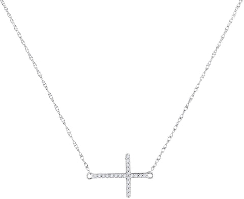 Sideways Cross Necklace White Gold 10K with Diamonds 1/20 Cttw