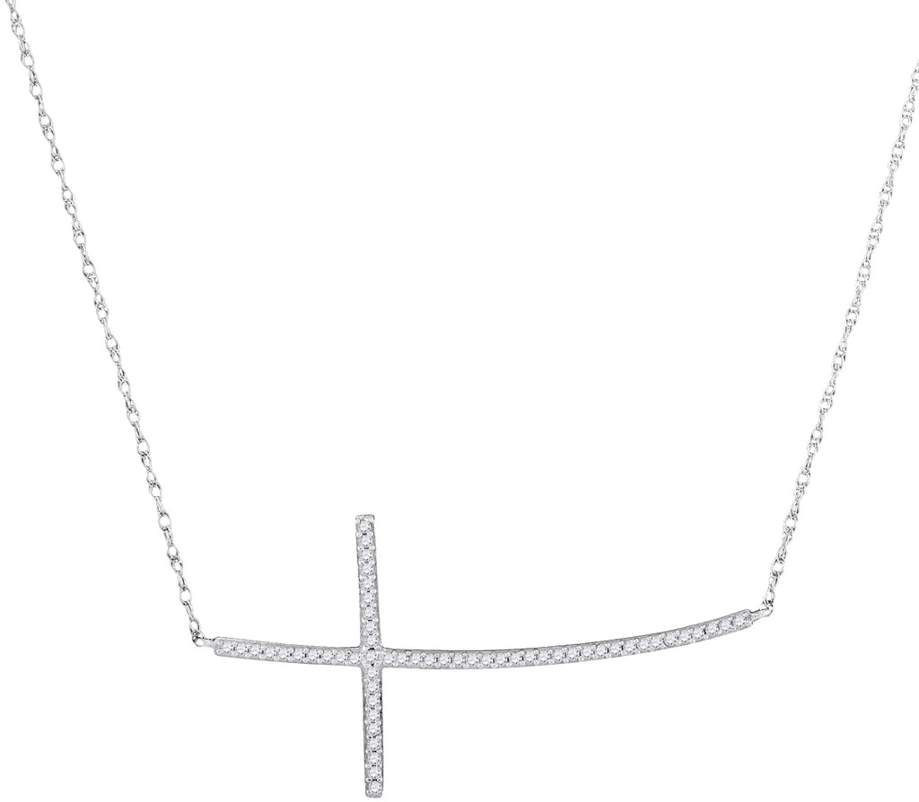 10Kt White Gold Horizontal Cross Necklace with Diamond Stones 1/6 Cttw