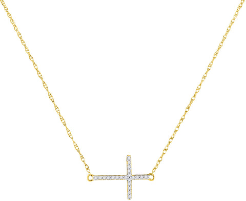 Gold Horizontal Cross Necklace with Diamond Stones, Christian Theme, 1/20 Cttw