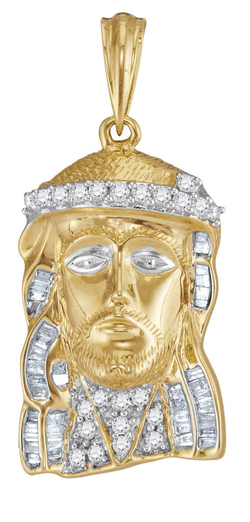 Real Gold Jesus Piece with Diamonds for Men, Religious Theme 1/2 Cttw