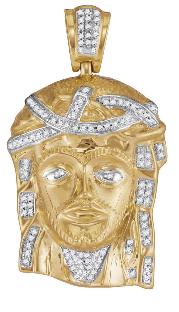 10K Gold Jesus Head Pendant with Real Diamonds 1/4 Cttw