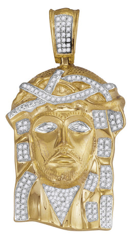 Diamond and 10K Gold Jesus Piece Pendant for Men, with Diamond Stones 3/8 Cttw