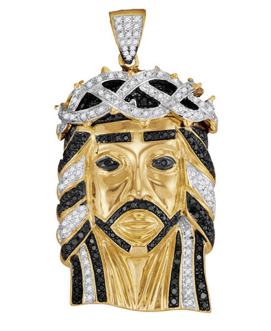 10K Gold Jesus Christ Pendant For Men with Diamonds 1-1/4 Cttw
