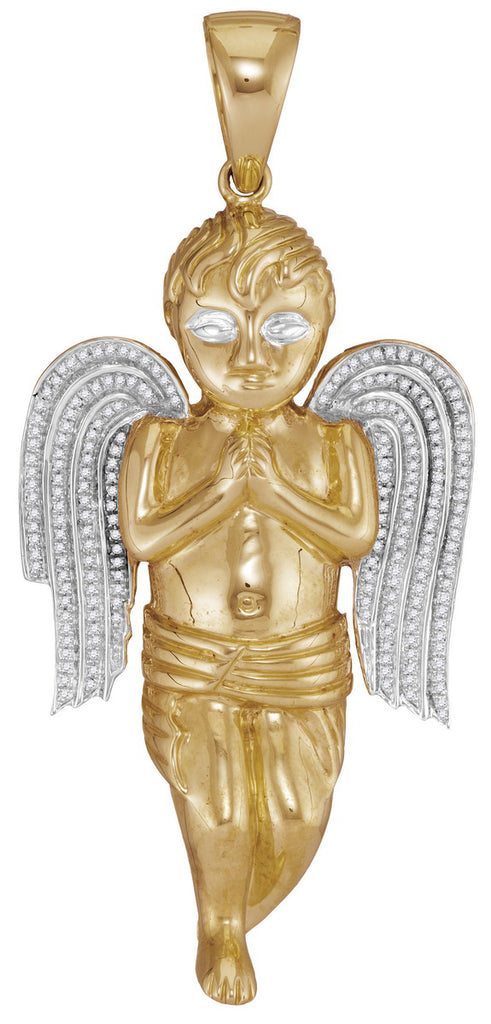 10kt Yellow Gold Mens Round Diamond Angel Cherub Charm Pendant 5/8 Cttw