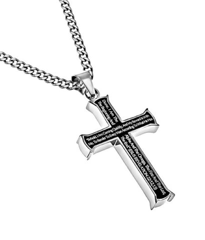 Revelation 22:12,13 Black Cross Necklace ALPHA OMEGA Bible Verse, Stainless Steel Thick Chain