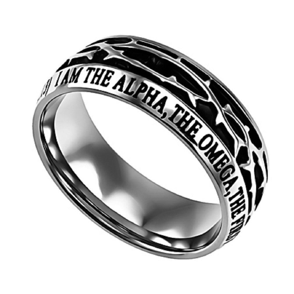 Alpha and Omega Revelation Ring