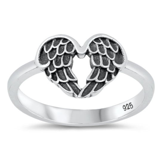 Angel Wing Heart Ring Sterling Silver, Christian Love Theme Jewelry