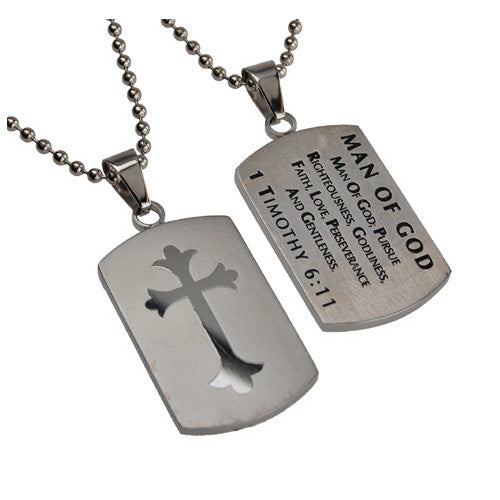 1 TIMOTHY 6:11 Shield Cross Man Of God Necklace with Bible Verse, Stainless Steel