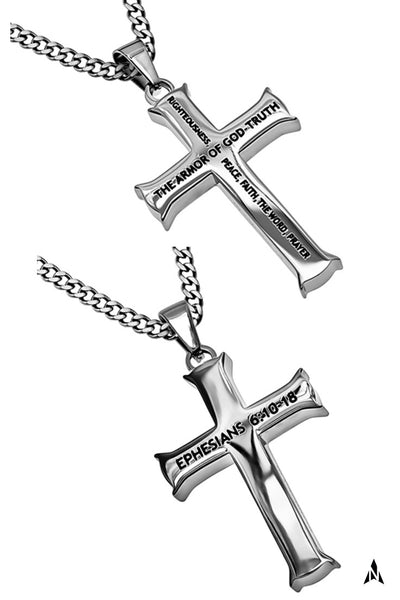 Armor of God Cross Necklace, Ephesians 6, Steel Curb Chain, Christian Verse