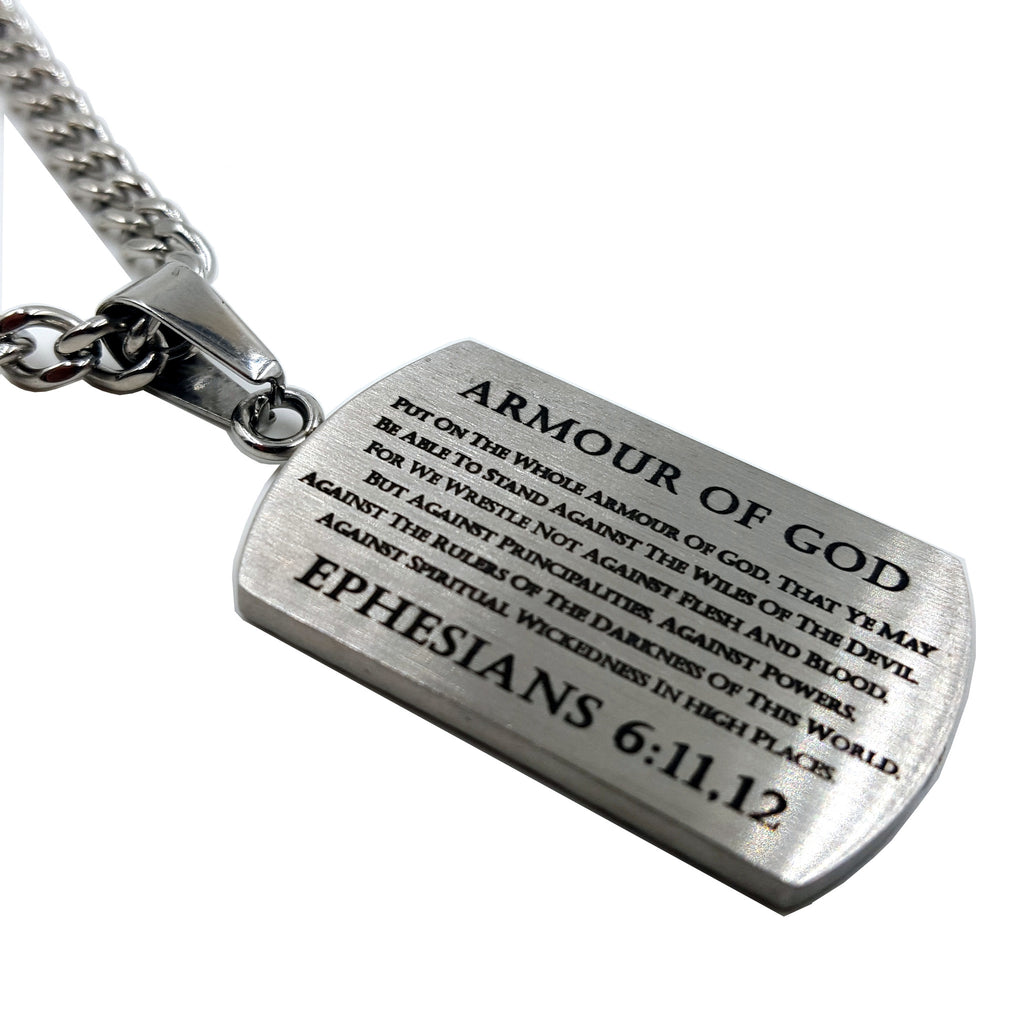 armor of god pendant dog tag bible verse ephesians 6 stainless