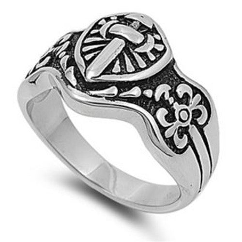 Armor of God Shield Ring Stainless Steel with Jewelry Gift Box