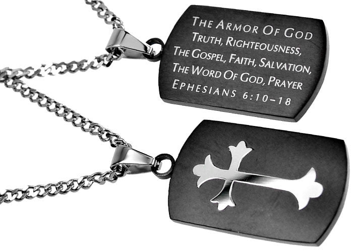 Armor of God Dog Tag Black