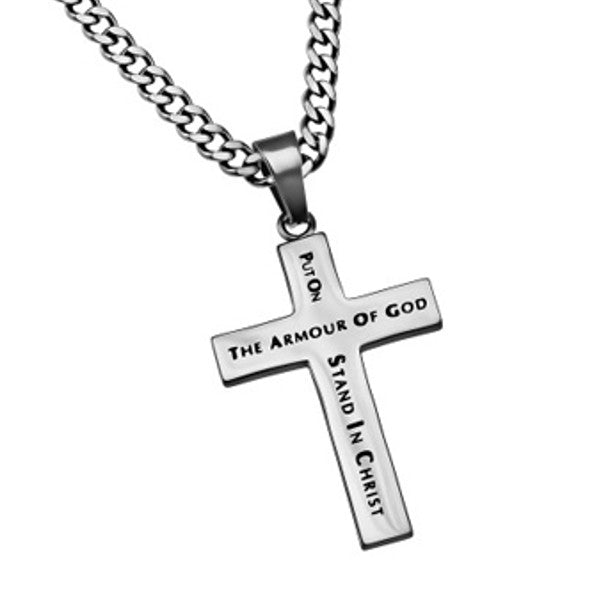 Armor of God Simple Cross Necklace For Guys
