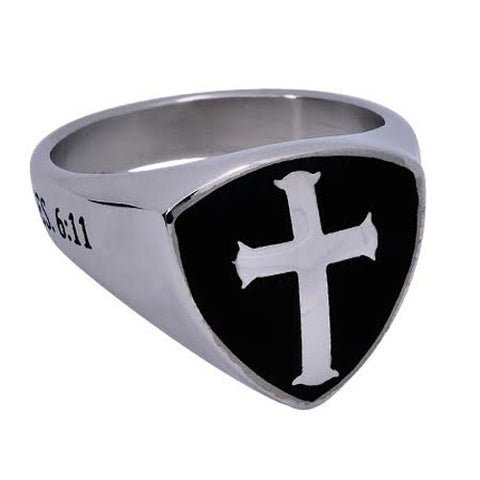 Armour Of God Black Signet Shield Cross Ring