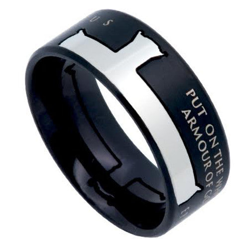 Armor Of God Cross Ring Black