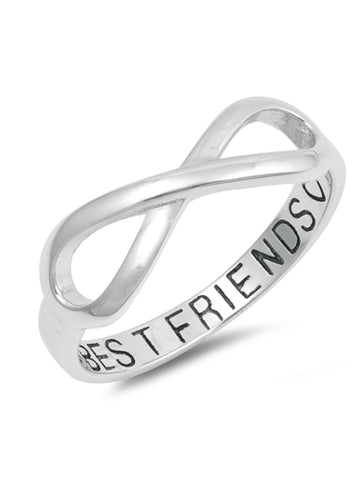 BEST FRIENDS Forever Ring, 925 Sterling Silver with Gift Box