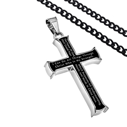 Philippians 4:7, 13 Jewelry Black Cross Necklace Bible Verse, Stainless Steel with Curb Chain