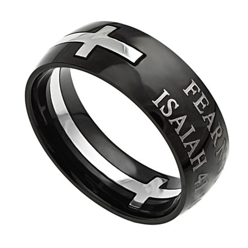 Black Cross Ring Isaiah 41:10