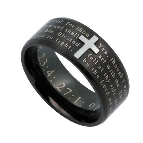 Black Ring With Bible Verse Psalm 23:4