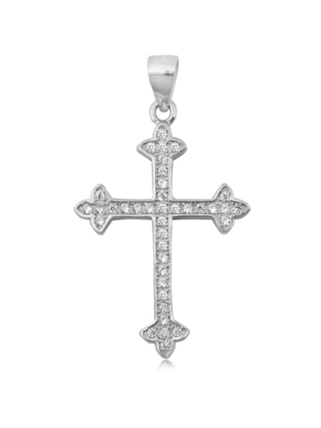 Budded Cross CZ Necklace